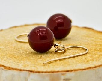 Maroon Pearl Earrings Gift for Her, Gold Earrings, Burgundy Earrings Gift For Women, Red Wine Dangle Earrings, Jewelry For Mom, 10mm Pearl