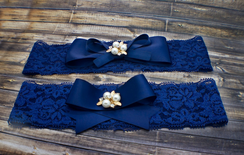 Something Blue Lace Garter Set with Ribbon Bows and Pearl embellishments Bow Garter Set Custom Bridal Garter Wedding Garter Set For Bride