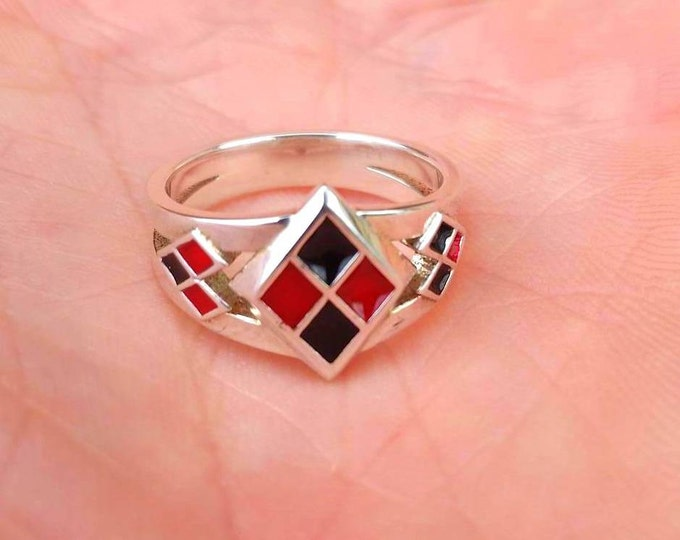 Custom Harley Quinn Inspired Ring with Red and Black enamel Suicide Squad