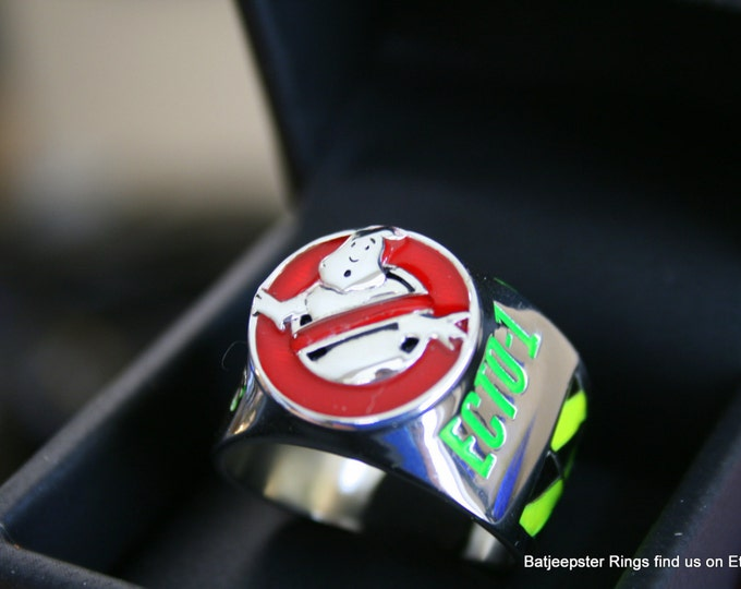 Custom Made to order GHOSTBUSTERS inspired Charter Ring made from Sterling Silver and High Impact Resin.
