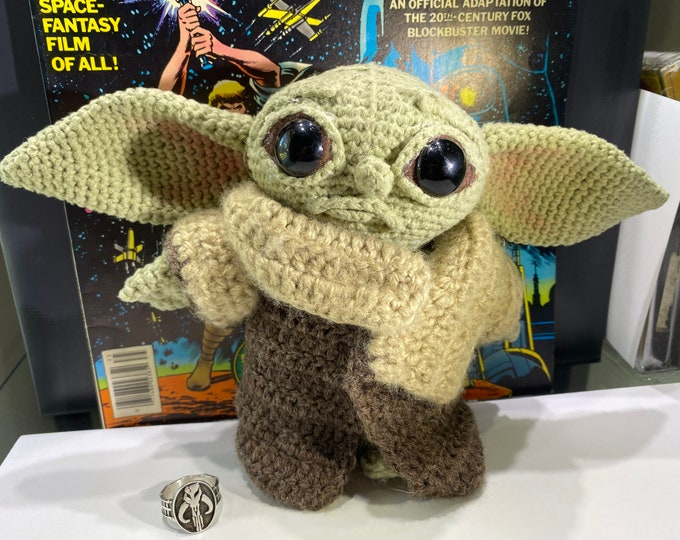 Baby Yoda (The Child) Handmade crocheted plush figure with a little butt!