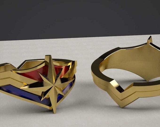 Custom Carol Danvers Inspired Ring in Sterling Silver