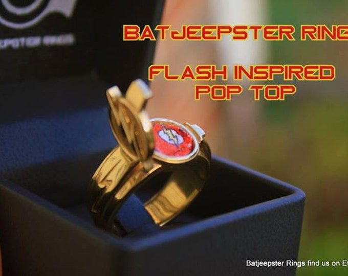 Custom POP Top Flash / Arrow T.V. Inspired  Flash Ring Gold Plated Silver