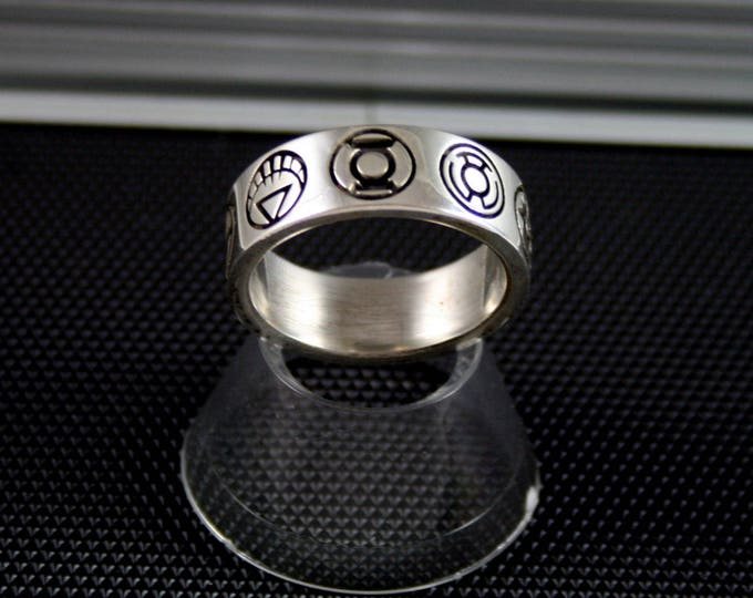 Custom 9 symbol Ring Green Lantern Inspired.