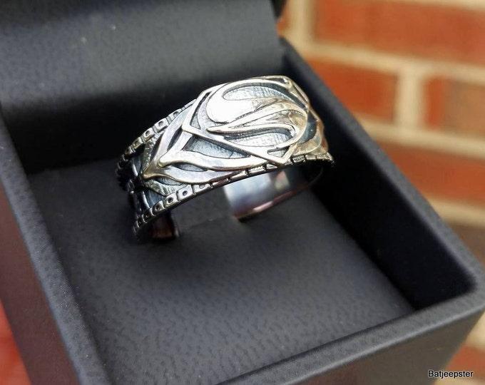 CUSTOM ART Man of Steel Armor Inspired Superman Ring