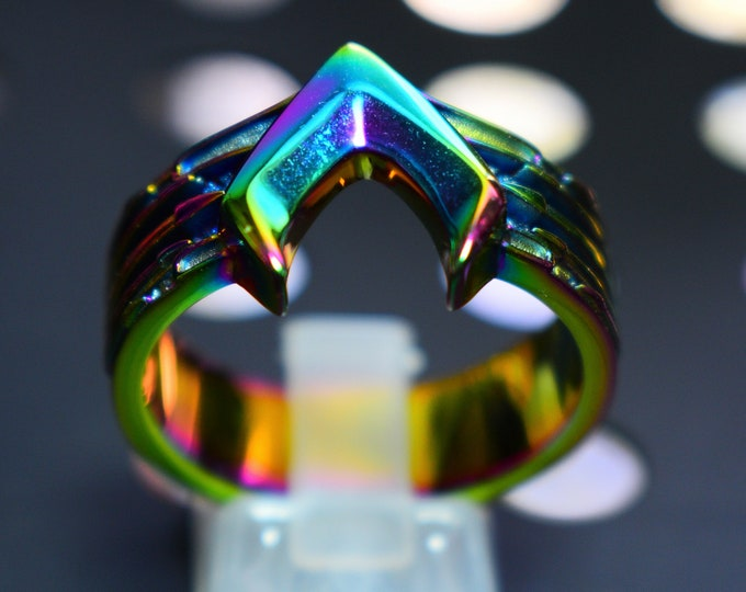 Surgical Steel Aquaman inspired Atlantis Armor Ring after Jason Momoa Abalone effect!
