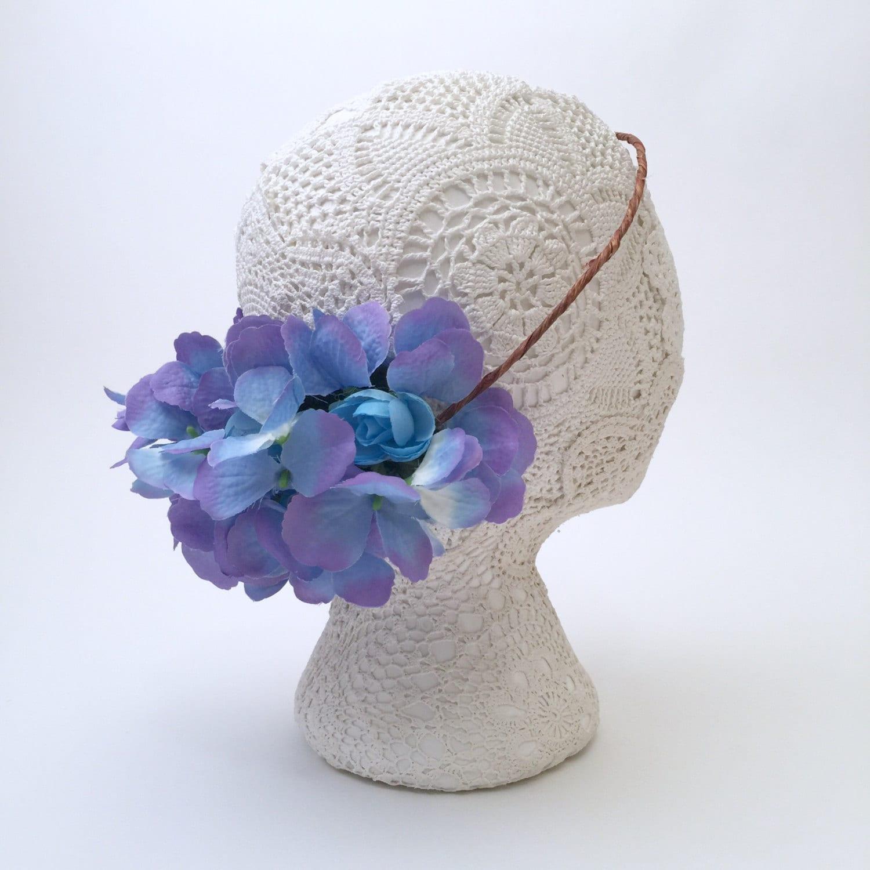 SALE Blue   Purple Toned Flower Crown Wreath Natural deef7f84f5c