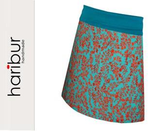A-line skirt, jersey skirt, turquoise-orange