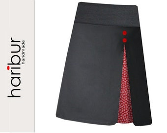 Pleated skirt stretch skirt floral grey-red