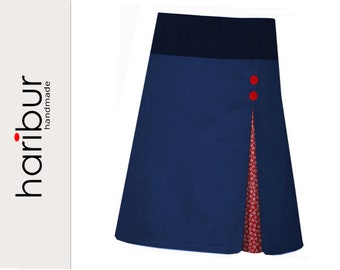 Skirt pleated skirt blue hip skirt A-line