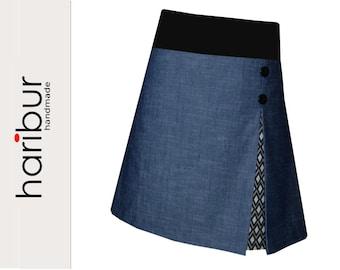 Denim skirt, stretch skirt, haribur, diamond