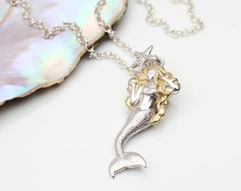 18ct Gold and Sterling Silver Mermaid Necklace (HBN144/M077)
