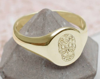 Day of the Dead Skull or Symbol Signet Ring