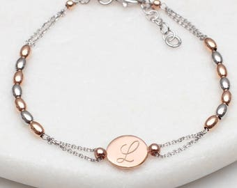 504ef032aec Personalised Rose Gold And Silver Bead Initial Bracelet