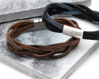 a9a1816e3 Men's Personalised Clasp Plaited Leather Bracelet   Etsy