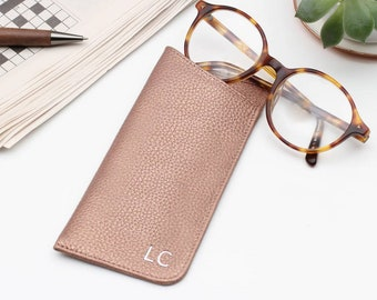 e5f364d54684 Luxury Leather Monogram Initials Glasses Case