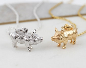 Necklace Silver Chain Pig Pendant Chinese Zodiac Animal Year Of The Pig