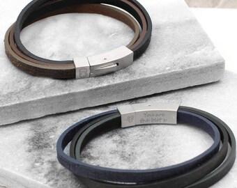 Men's Three Strand Initial And Secret Message Bracelet (HBMB16)
