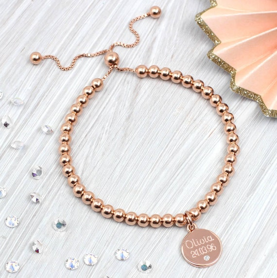 ad912f7132b Rose Gold And Diamond Personalised Ball Bracelet
