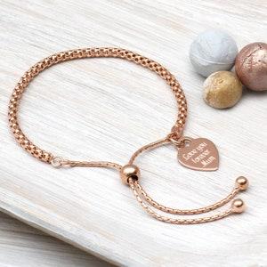 NEW 925 Sterling Silver Heart Disc Box Chain Slider Friendship Bracelet