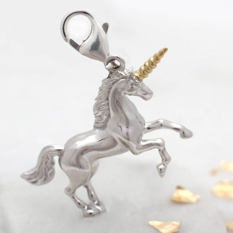a654f61ab Gold And Sterling Silver Unicorn Clip on Charm | Etsy