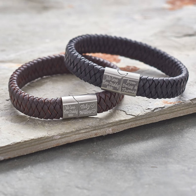 a74580a37a95 Men s Personalised Brushed Steel And Leather Bracelet