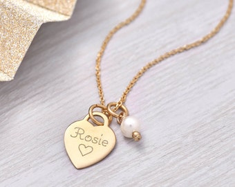 Personalised Petite Yellow Gold Heart Charm Necklace (HBN71 / 01Y)