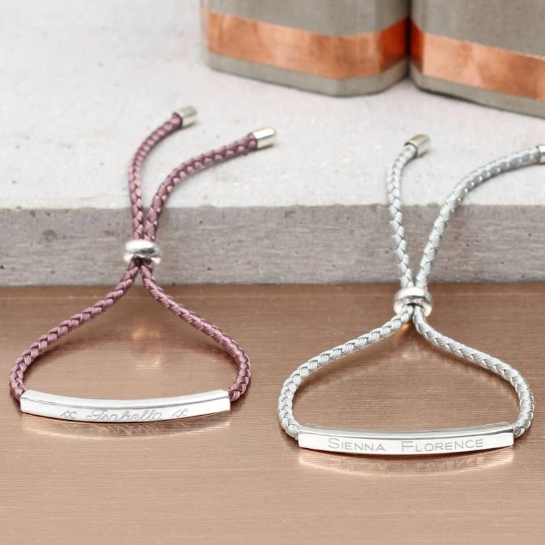 02f71985ac4 Sienna Sterling Silver Personalised Friendship Bracelet | Etsy