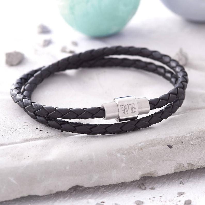 665bc6e13 Mens Personalised Clasp Double Leather Bracelet   Etsy