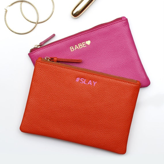 4aa901a79308 Personalised Initials Luxury Leather Clutch Bag