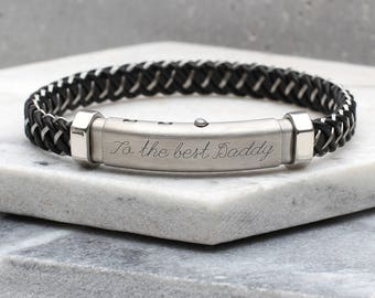 Personalised Titanium And Leather Contemporary Bracelet (HBMB43)