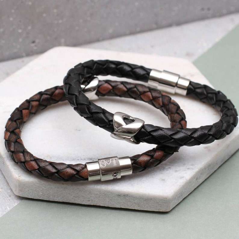 6574fe7b3 Men's Personalised Initial Clasp Infinity Bead Leather   Etsy