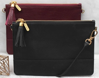 Personalised Leather Clutch or Cross Body Bag