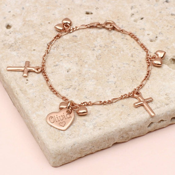 aa96e88e2c9 Personalised Rose Gold Christening Charm Bracelet