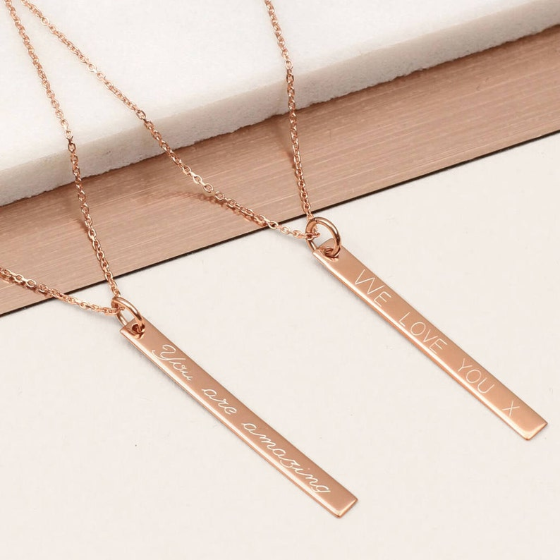 689e80bd8857 Personalised Rose Gold Bar Necklace