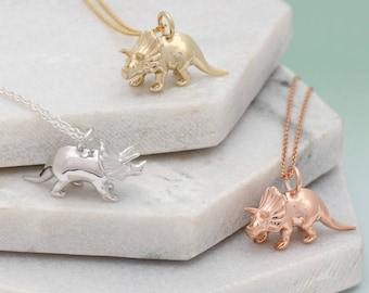 Silver or Gold Triceratops Dinosaur Necklace