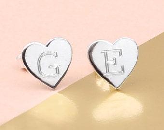 Sterling Silver Personalised Initial Heart Earrings (HBE33)