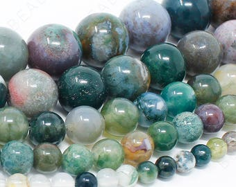 103560hf-1002 15MM Indian Agate Beads Grade AAA Genuine Natural Gemstone Quarter Strand Round Loose Beads 4 BULK LOT 1,3,5,10 and 50
