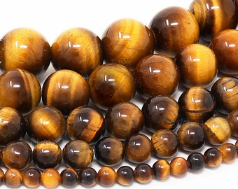grade AAA tiger eye beads 6mm 8mm non faceted 12mm Dyed genuine shiny 10mm