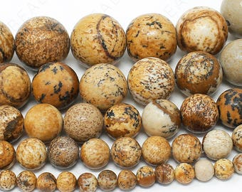 """Picture Jasper Beads Natural Gemstone Round Loose - 4mm 6mm 8mm 10mm 12mm - 15.5"""" Strand"""