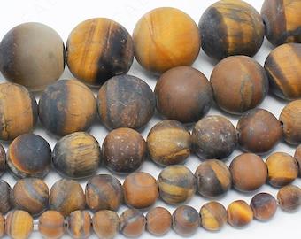 "Matte Tiger Eye Beads Natural Gemstone Round Loose - 4mm 6mm 8mm 10mm 12mm - 15.5"" Strand"