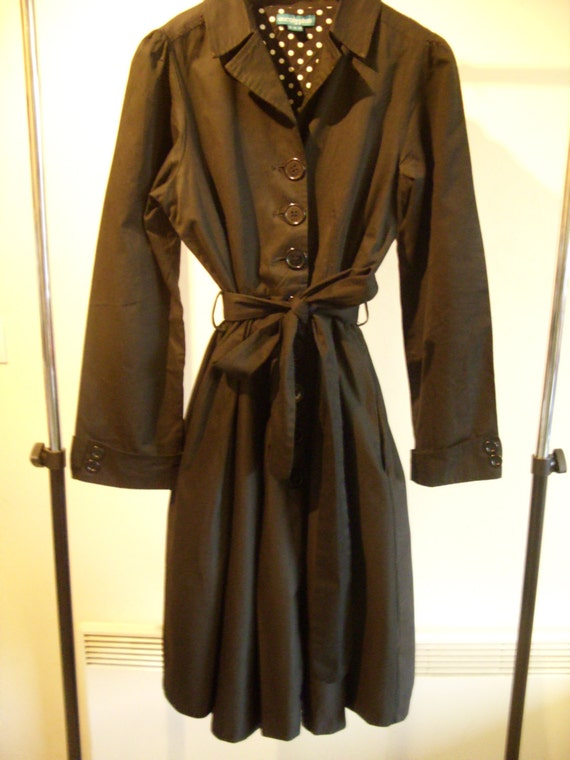 Black Full Skirt Trench Coat With White On Black Polka Dots Size Uk14/Eu40/Us10 by Etsy