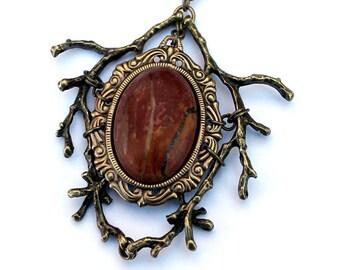 Oxidized Brass Vintage Fantasy Red Brown Jasper Necklace