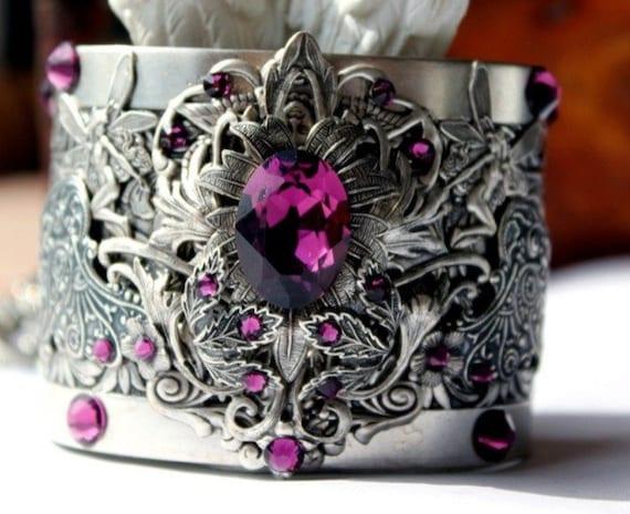 Vintage Fantasy Gothic Tanzanite  Cuff Bracelet Garden