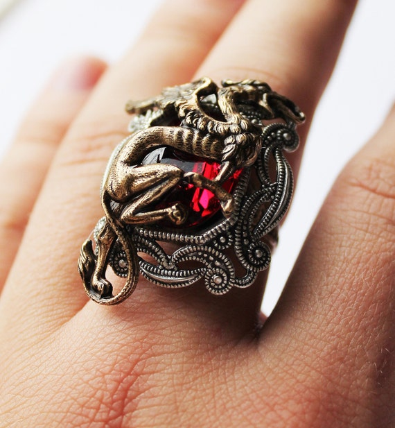 18/% DISCOUNT Steampunk Ring The Alchemists daughter; brass ring; fantasy ring; magic ring