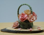 Wicker basket of peonies 1:12 scale for dollhouse