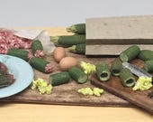 Meat Filled Zucchini preparing board 1:12 scale for dollhouse