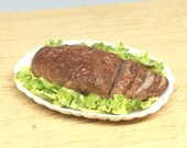 Meatloaf and salad 1:12 scale for dollhouse