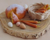 Camilla cake with carrots 1:12 scale miniature for dollhouse