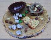 Cutting board of Easter sweets 1:12 scale for dollhouse